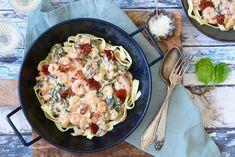 Tagliatelle met romige garnalen - Chickslovefood