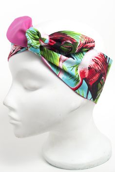 Turquoise pink flamingo head scarf.  Hand made vintage style 50's rockabilly roller derby scarf.  http://bad-kitty.co.uk/product/turquoise-pink-flamingo-head-scarf/