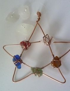 Pentagram Sea Glass and Antique Copper by Cathie Palmer