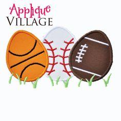 Boys Sports Easter Egg Applique Embroidery Design