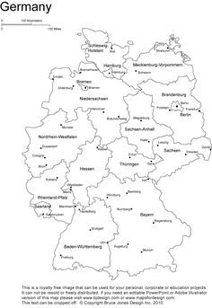 Germany printable, blank map, Bonn, Berlin, Europe, royalty free.