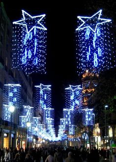 Christmas lights in Barcelona, Spain Find the perfect apartment for your stay in… Blue Christmas, Beautiful Christmas, Christmas And New Year, Christmas Time, Christmas In Spain, Christmas Light Installation, Christmas Light Displays, Celebration Around The World, Holidays Around The World
