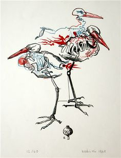 FLORIANO BODINI -  Le gru, 1967, Litografia, 34,5x27 | http://www.mavida.it/it/opere/37/1/BODINI_Floriano.aspx