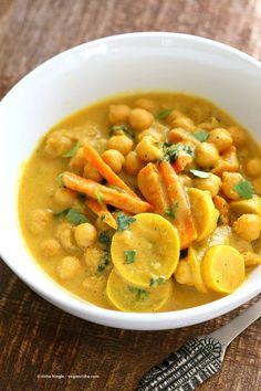 Chickpeas in Turmeric Peanut Butter Curry. Easy Nut Butter Curry Sauce with Summer veggies and Chickpeas. Vegan Gluten-free Soyfree Recipe #veganricha | VeganRicha.com