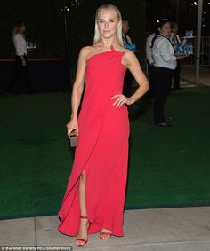 Tease: The blonde bombshell wore a maxi dress, which featured a knee-length slit…