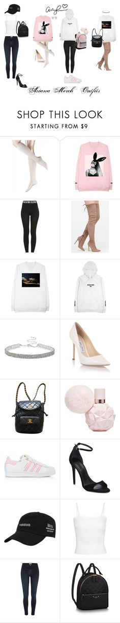 """ariana grande merch"" by moonlightbri ❤ liked on Polyvore featuring Falke, Calvin Klein, Jimmy Choo, Chanel, adidas, Alexander Wang and River Island"