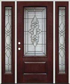 Captivating 3/4 Lite Pre Finished Mahogany Fiberglass Prehung Door Unit With Sidelites  #73