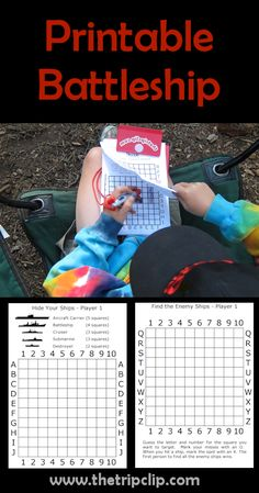 Printable Travel Activities For Kids : As fun as the board game with no little pieces! This printable, two-player pen and paper Battleship game is very fun, and will keep your kids entertained for a surprisingly long time! Paper Games For Kids, Pen And Paper Games, Games For Teens, Kids Party Games, Diy Games, Virtual Games For Kids, Disney Games For Kids, Indoor Games For Kids, Printable Board Games
