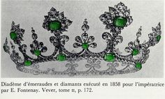 Another emerald tiara formerly belonging to Empress Eugenie of France. Made by Fontenay, 1858, using the strawberry leaf motif which was very popular in Eugenie's home country, Spain