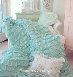 Summers Cottage Ruffled Bedding | DREAMY RUFFLED CURTAIN DRAPE PANEL SHABBY BEACH COTTAGE CHIC AQUA BLUE