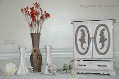 Revitalized Shabby Cottage Chic Style Dresser Top Handpainted Jewelry Box Armoire  by RecycledBySkattur, $44.00 USD
