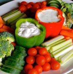 Veggie tray  I love the idea of the bell peppers being the dip bowl!