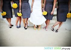 I love the contrast of the gray and yellow. The bridesmaid will all have the same shoes if the the wear short dresses.
