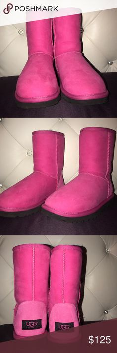 Pink Ugg Boots Only worn twice! Like New. Negotiable!! No box. UGG Shoes Winter & Rain Boots