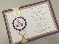 Handmade Sofia the first Birthday invitation by amepapercrafts