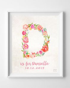 Nursery Wall Decor, Custom Name, Initial Poster, Decor Idea, Arty Print, Denise, Dharma, Dakota, Diane, Daphne, Donna, Easter Decorations