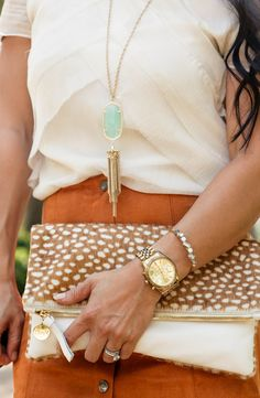 cute & little blog | petite fashion | kendra scott necklace rayne necklace, suede skirt, clare vivier foldover clutch, rocksbox | fall outfit accessories