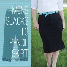 men's slacks to women's pencil skirt sewing tutorial - #refashion #upcycle