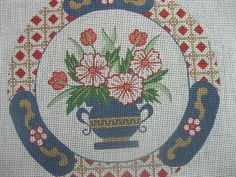 Hand Painted Needlepoint Canvas  Flower Vase  by by EASTnWEST, $55.00