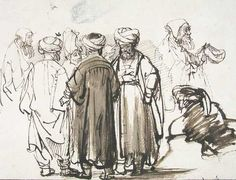 Men in oriental dress and two studies of a beggar in the half figure - Rembrandt