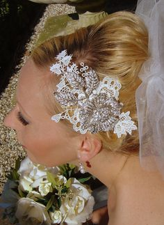 bridal hair comb vintage inspired large lace wedding