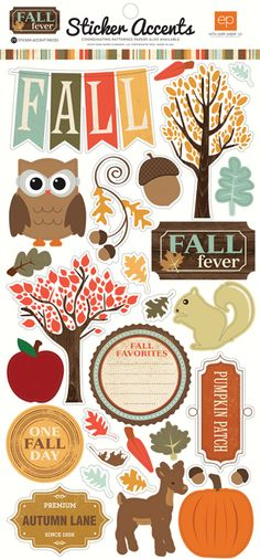 Echo Park - Fall Fever Collection - Cardstock Stickers at Scrapbook.com Planner Stickers, Scrapbook Stickers, Printable Stickers, Printable Planner, Scrapbook Pages, Printables, Kikki K, Kikki Planner, Glam Planner