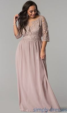 Long Formal 3/4 Sleeve Embroidered Lace Bodice Dress