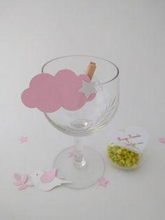 Lot de 10 marque-place mariage / baptême nuage étoilé rose dragée à personnaliser et ses confettis : Cuisine et service de table par magic-events
