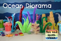 Ocean Box Diorama - made with a shoe box and pipe cleaners