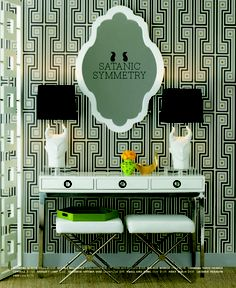 Channing 3 drawer console, rider bench, George wallpaper, and naughty lamps. Jonathan Adler heaven, available at Mint