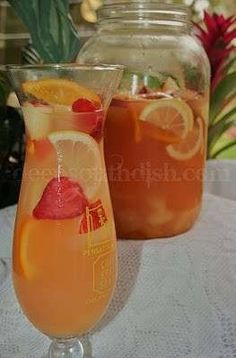 Pineapple Lemonade Sangria....served before we walk down the aisle...to relax everyones nerves lol
