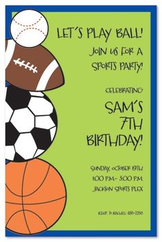 265 best sports themed party food ideas images on pinterest in the card features a baseball football soccer ball and basket ball on the left side the personalized invitation wording will be printed on the right side stopboris