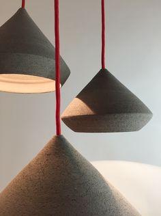 pendants with handmade ceramic lampshades in lava style/ isabel hamm licht Glass Pendants, Ceramics, Lamp, Pendant Light, Glass, Light, Bespoke Lighting, Handmade Ceramics, Lampshades
