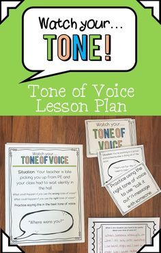 This tone of voice lesson plan or small group session helps to develop positive communication skills by teaching students how to use the appropriate tone of voice in common school and home situations. Great for students and classes that have some rude ten Social Skills Lessons, Social Skills Activities, Counseling Activities, Therapy Activities, Respect Activities, Calming Activities, Career Counseling, Therapy Ideas, Communication Activities
