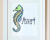 Seahorse, personalized, sea art, watercolor painting, original painting, nursery art, kids art