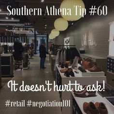 It doesn't hurt to ask. #southernathenatips #retail #negotiation101 Loving the @shoprymills @colehaan store shoe displays and pendant lights. #shiny #shopping #realestate #realtorlife