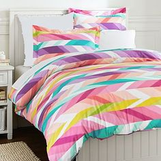 Ikat Stripe Duvet Cover + Sham #pbteen This would look great on Sarah's bed.