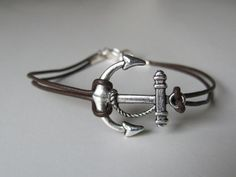 Unisex leather anchor bracelet