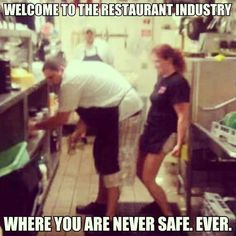 Truth, the size of the kitchen where I work is half that size. Waitress Humor, Waitress Problems, Server Memes, Server Humor, Server Quotes, Restaurant Humor, Work Jokes, Work Humor, Funny Food Memes