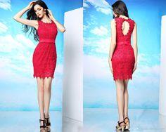 Sale Sheath Olumn Red Lace Cocktail Dresses