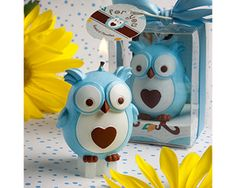 Adorable Blue Owl Candle Favour