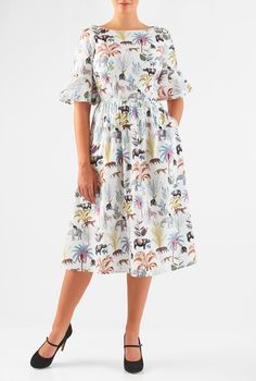 Elbow length sleeves with ruffle flounces at the cuffs enhance our feminine animal and tree print dress crafted from cotton poplin. Mature Women Fashion, Calf Length Dress, Fancy Blouse Designs, Frock Design, Poplin Dress, African Fashion Dresses, Lovely Dresses, Dress Patterns, Designer Dresses