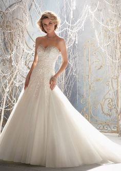 MORI LEE Bridal, Fall 2013 Collection | Style 1964 - Delicate Alencon Lace Appliques on Net Edged with Crystal Beading