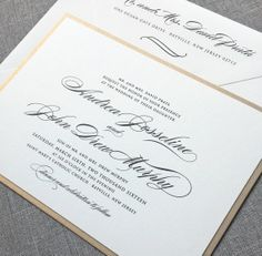 Andrea Script Metallic Gold Layered Wedding Invitation by Cricket Printing