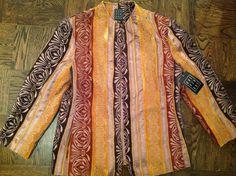 New Due per Due Fall Velvet Burnout Bohemian Lined Jacket, Size 12  $25