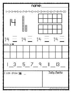 FREEBIE~Kindergarten Number Recognition and Value Worksheets 1 to 30