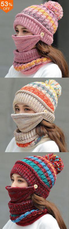 Women Winter Warm Thicken Plus Velvet Knit Hat Scarf Set with Face Mask Windproof Earmuffs Ski Cap Loom Knitting, Knitting Stitches, Baby Knitting, Crochet Beanie, Crochet Yarn, Knitted Hats, Loom Patterns, Knitting Patterns, Crochet Patterns