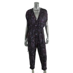 a0bc12e813d6 Free People Womens S Purple Knit Abstract Foral Print Belted Jumpsuit NWT   fashion  clothing