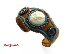 Owl Cuff Bracelet, Suede Bracelet, Beadwoven Jewlery, Bead Embroidery Jewelry, Native Jewelry, Southwest Jewelry by RedBear501 on Etsy