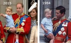 British Monarchy on Twitter: Trooping the Colour 2015, June 13, 2015-Keeping the Tradition: Prince George wore the same blue outfit that his father Prince William did for his first Trooping the Color-George with his parents 2015, William with his father 1984